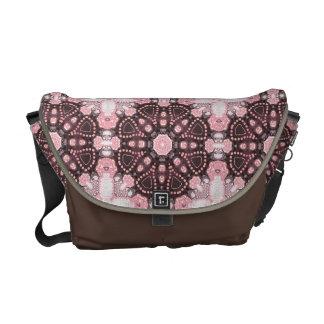 Fusión geométrica del batik del resplandor rosado bolsas de mensajeria