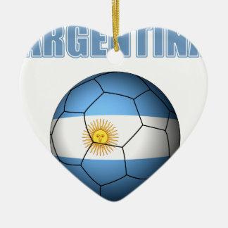 Fútbol 0528 de la Argentina Adorno Navideño De Cerámica En Forma De Corazón