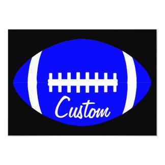 Fútbol azul de encargo inmóvil invitación 12,7 x 17,8 cm