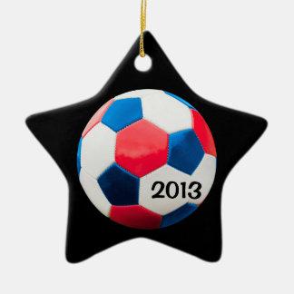 Fútbol blanco y azul rojo adorno de cerámica en forma de estrella