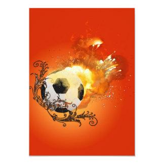 Fútbol con el fuego invitación 12,7 x 17,8 cm
