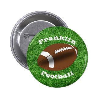 Fútbol con nombre del equipo en fondo de la chapa redonda de 5 cm