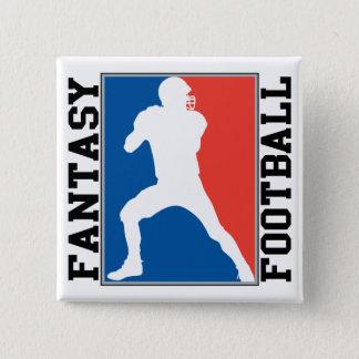 Fútbol de la fantasía, logotipo blanco y azul rojo chapa cuadrada
