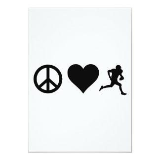 Fútbol del amor de la paz invitación 12,7 x 17,8 cm