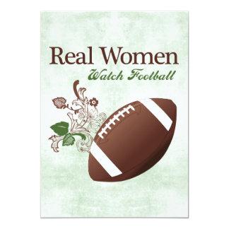 Fútbol del reloj de las mujeres reales invitación 12,7 x 17,8 cm