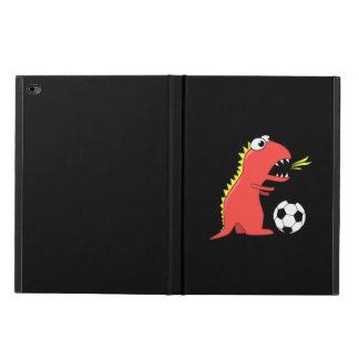 Fútbol divertido negro del dinosaurio del dibujo
