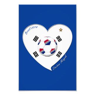 FÚTBOL equipo nacional y bandera de SUR COREA 2014 Impresiones Fotograficas