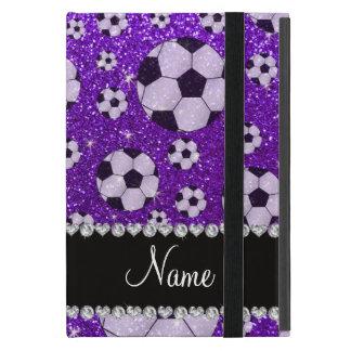 Fútbol púrpura personalizado del brillo del añil iPad mini carcasas