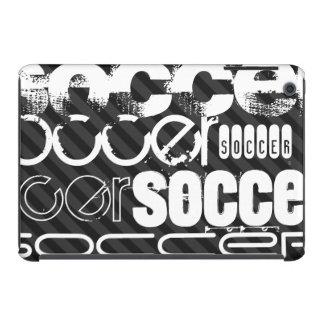 Fútbol; Rayas negras y gris oscuro Fundas De iPad Mini