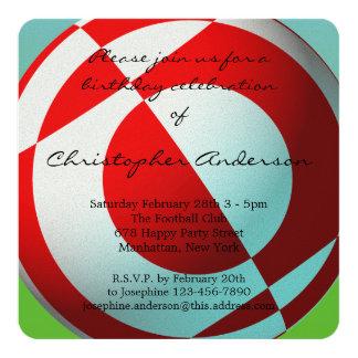 Fútbol rojo y blanco con los globos invitación 13,3 cm x 13,3cm