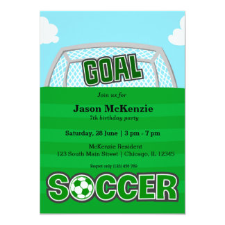 Fútbol (verde) invitación 12,7 x 17,8 cm