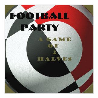 Fútboles negros y rojos invitación 13,3 cm x 13,3cm
