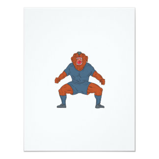 Futbolista del dogo que celebra el dibujo animado invitación 10,8 x 13,9 cm