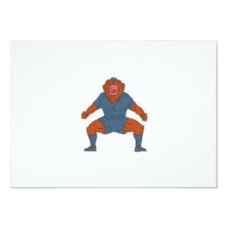 Futbolista del dogo que celebra el dibujo animado invitación 12,7 x 17,8 cm
