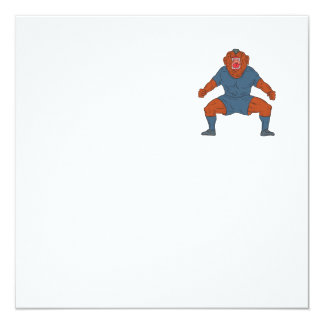 Futbolista del dogo que celebra el dibujo animado invitación 13,3 cm x 13,3cm