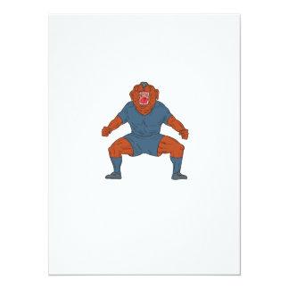 Futbolista del dogo que celebra el dibujo animado invitación 13,9 x 19,0 cm