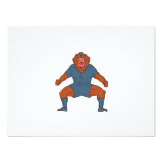 Futbolista del dogo que celebra el dibujo animado invitación 16,5 x 22,2 cm