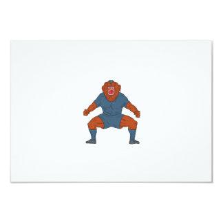 Futbolista del dogo que celebra el dibujo animado invitación 8,9 x 12,7 cm