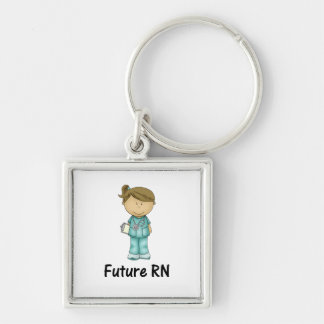 futuro RN Llavero Cuadrado Plateado