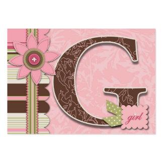 G está para el chica le agradece Notecard Tarjetas De Visita Grandes