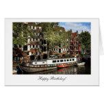 Gabarra del canal de Amsterdam - feliz cumpleaños Tarjetas
