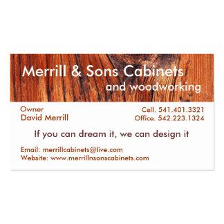 Gabinetes o carpintería plantillas de tarjetas de visita