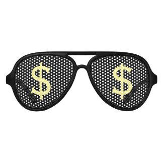 Gafas De Fiesta De Aviador Dólares amarillos locos de mirada fija que hace