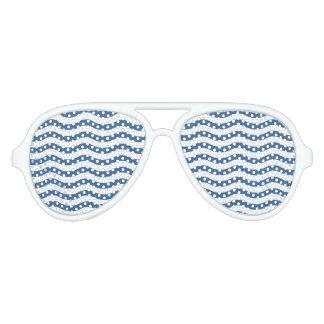 Gafas De Fiesta De Aviador Fondo azul blanco del personalizar del modelo de