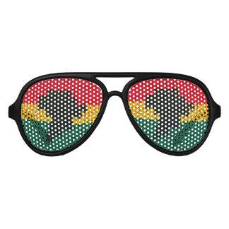 Gafas De Fiesta De Aviador Ganchillo africano del verde rojo del oro del