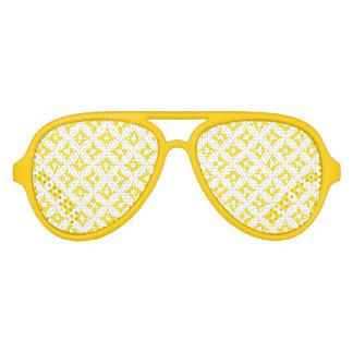 Gafas De Fiesta De Aviador Modelo de lunares amarillo y blanco moderno del