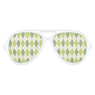 Gafas De Fiesta De Aviador Modelo geométrico verde retro de Argyle