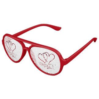 Gafas De Fiesta De Aviador Para siempre corazones rojos en blanco