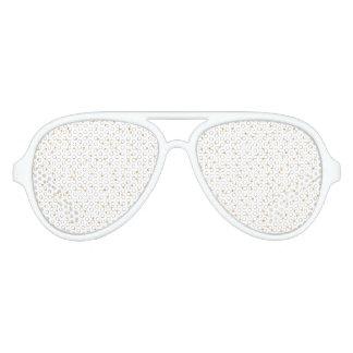 Gafas De Fiesta De Aviador Puntos modernos elegantes del confeti del blanco y
