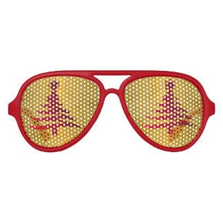 Gafas De Fiesta De Aviador Rojo de la plantilla del árbol de navidad en el