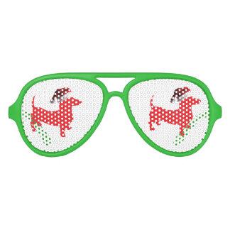 Gafas De Fiesta De Aviador Rojo-Doxie---Y-Santa-Gorra