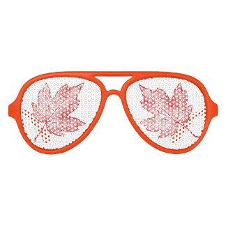 Gafas De Fiesta De Aviador Sombras rojas de Sun de la hoja de arce del otoño