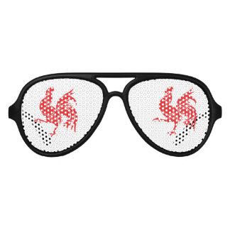 Gafas De Fiesta De Aviador Un gallo rojo