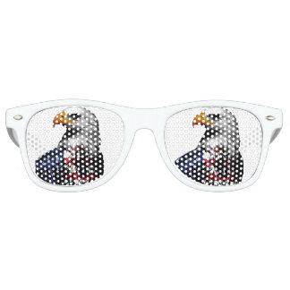 Gafas De Fiesta Retro Eagle calvo americano envuelto en la bandera de