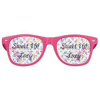Gafas De Fiesta Retro El dulce rosado 16 del confeti puntea sombras