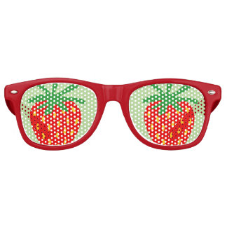 Gafas De Fiesta Retro El fiesta rojo divertido de la fresa sombrea las