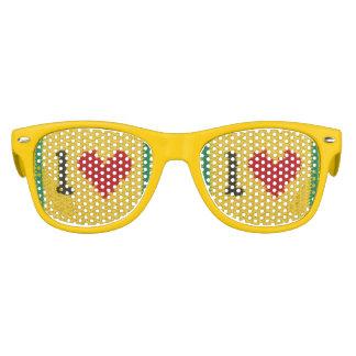 Gafas De Fiesta Retro Impresión negra roja amarilla del ganchillo del