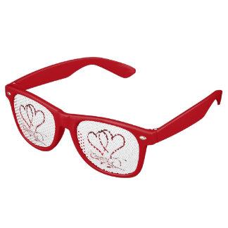 Gafas De Fiesta Retro Para siempre corazones rojos en blanco