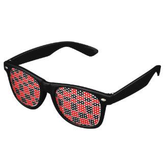 Gafas De Fiesta Retro Personalizable rojo y negro de la tela escocesa