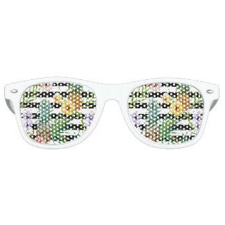 Gafas De Fiesta Retro Rayas negras tropicales de la flor de la piña de