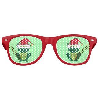 Gafas De Fiesta Retro Rojo verde de Santa de la rana de la fiesta de