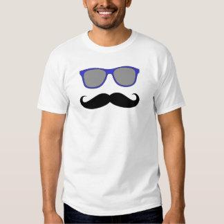 Gafas de sol divertidas del azul del bigote camiseta