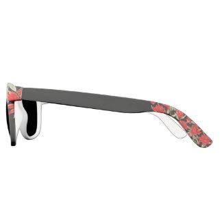 Gafas de sol florales y negras rojas de la