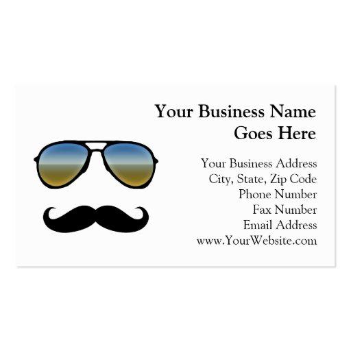 Gafas de sol retras divertidas con el bigote plantillas de tarjetas personales
