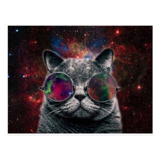 Gafas que llevan del gato del espacio delante de postal