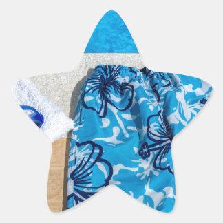 Gafas y toalla de los troncos de natación en la pegatina en forma de estrella